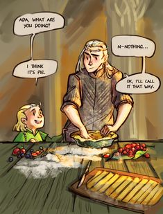 Hobbit and pushing daisies crossover <<< awwwwww! Oh my gosh, this is so cute! Lotr, Thranduil Funny, Mirkwood Elves, Legolas And Thranduil, Pushing Daisies, J. R. R. Tolkien, O Hobbit, Fan Art, Middle Earth