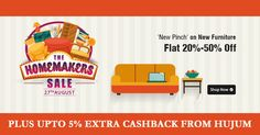 Flat 20% to 50% Off on New Furniture Plus Upto 5% Cashback On Every Purchase from Hujum #ShopcluesCoupons #ShopcluesCashback #FurnitureSale