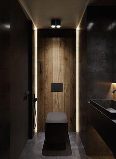 Moody Modern Industrial Interiors With Wood And Concrete Decor Wc Design, Loft Design, Home Room Design, Home Interior Design, Bathroom Design Luxury, Modern Bathroom Design, Bedroom Modern, Small Toilet Design, Toilette Design