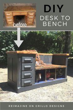repurposed furniture / desk to bench / desk makeover / furniture / DIY / home decor / farmhouse #woodworkingbench #repurposedfurnituredesk