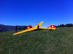 Glider starting on Jochalp, Parpan, Graubünden
