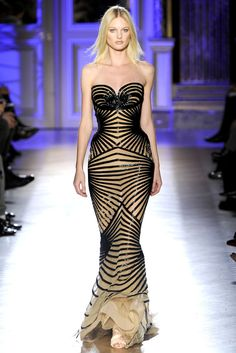 Zuhair Murad S/S 2012 Haute Couture– wow the lines are all going in very flattering directions. Great construction!