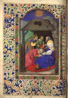 Heures d'Isabeau de Roubaix - 1460 - Fol. 71 verso : Adoration des trois rois mages - Ms_006bis, Manuscrits de la médiathèque de Roubaix
