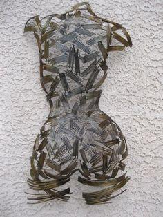 MASTER BATH! Abstract Wall Art Modern Metal Sculpture Nude Torso Holly Lentz Decor Garden | eBay