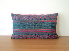 """12""""x20"""" Hmong Vintage Batik  Cushion Cover, Tribal Throw Pillow Case, Blue Teal  Hill Tribe Tradition Ethnic Textile Cover"""