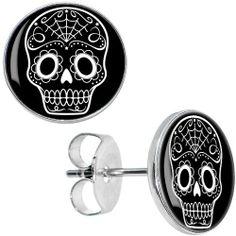 Black White Sugar Skull Art Stud Earrings Body Candy. $8.99