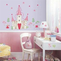 Shop for RoomMates Princess Castle Peel and Stick Wall Decal. Get free delivery On EVERYTHING* Overstock - Your Online Nursery Decor Shop! Princess Room, Princess Castle, Castle Mural, Castle Wall, Wall Stickers Princess, Do It Yourself Design, Baby Girl Room Decor, Kids Bedroom Designs, Decoration Originale