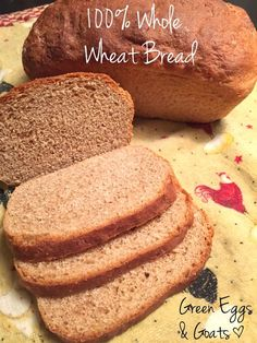 Whole Wheat Bread Recipe. This is an easy, healthy whole wheat bread recip… Whole Wheat Bread Recipe. This is an easy, healthy whole wheat bread recipe that rises well and actually tastes great. Bread Machine Recipes, Bread Recipes, Real Food Recipes, Cooking Recipes, Flour Recipes, 100 Whole Wheat Bread, Whole Wheat Bread Recipe No Yeast, Vegan Wheat Bread Recipe, Easy Healthy Bread Recipe