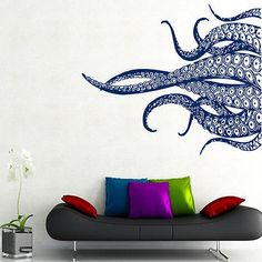 octopus wall decal tentacles vinyl sticker bathroom decor sea ocean animal kk760