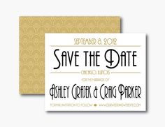 Gatsby  Art Deco Save the Date by PurpleSapphireDesign on Etsy, $3.50