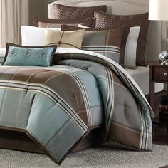 Madison Park Whitman Blue 12-piece Bed in a Bag with Sheet Set | Overstock.com Shopping - The Best Deals on Bed-in-a-Bag