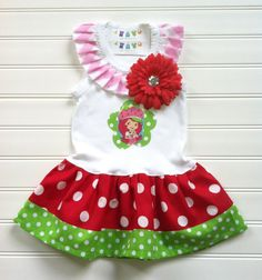 Custom Boutique Strawberry Dress Birthday Dress Strawberry Dress Number Dress Girl Dress  Spring Dress Available 3-6 months through Size 6/8 on Etsy, $29.00