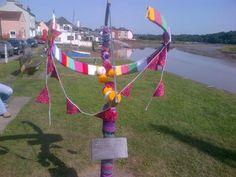 Rowhedge sundial gets yarnbombed!