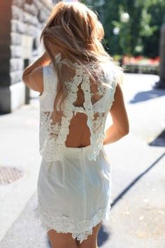 Pretty back details on this white lace two-piece dress... - Street Style