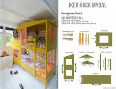 Ikea hack mydal bed - werkbeschrijving - how to make it - New Ideas Ikea Hack Lit, Ikea Bunk Bed Hack, Ikea Hacks, Big Girl Rooms, Boy Room, Kids Room, Cool Bunk Beds, Kid Beds, Mydal Ikea