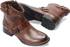 Born Women's Raisa Casual Leather Zip Up Ankle Boots Dark Tan D04192 #Brn #FashionAnkle