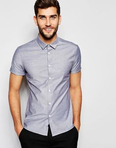 60ac3fefeafa19 ASOS Skinny Oxford Shirt In Grey With Short Sleeves at asos.com