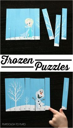 Love these!! DIY Frozen puzzles. Such an easy preschool center or busy bag this winter! A great way for kids to work on number recognition and counting!  #frozen #wintermathcenters #playdoughtoplato