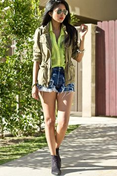 Army zara jacket, levis shorts, neon chiffon cotton candy top