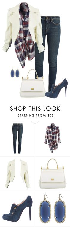 """""""Weekend woman, on the apple farm"""" by bsimon623 ❤ liked on Polyvore featuring Yves Saint Laurent, LE3NO, Dolce&Gabbana, Christian Louboutin and Kendra Scott"""