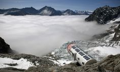 Room with a view: This solar-powered metal tube in the Mont Blanc mountain range can accommodate 12 climbers. It contains bunk beds and a kitchen and replaces a hut built in 1948 Mont Blanc Mountain, The Mont, Refuge, Mountain Range, Solar Power, Images, Around The Worlds, The Incredibles, Exterior