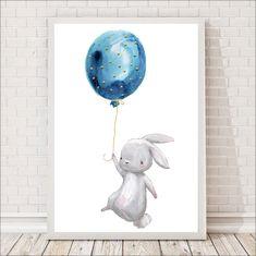 Plakat dla dzieci zajączek i balonik Watercolor Print, Watercolor Paintings, Baby Boy Photography, Disney Art, Cartoon Drawings, Nursery Art, Diy For Kids, Baby Animals, Canvas