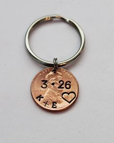 OUR LUCKY DAY Personalized Penny Keychain by JewelryImpressions