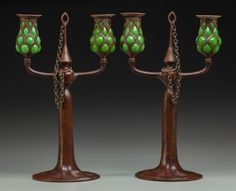 60009: Pair of Tiffany Bronze and Green Favrile Glass T : Lot 60009