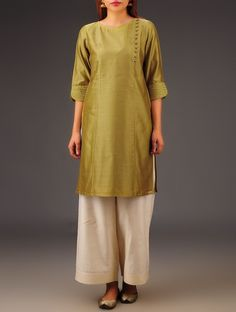 Buy Olive Chanderi Button Detailed Kurta Online at Jaypore.com