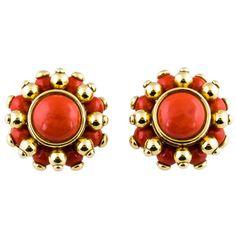 VERDURA 1980's Coral & Gold Earrings