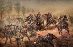 Charge of the cuirassiers of the Russian Guard against German artillery battery 1914. A. Scheloumoff