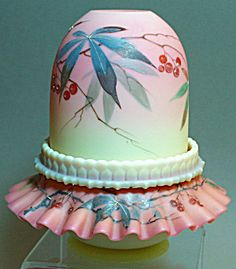 Thomas Webb Decorated Burmese Fairy Lamp
