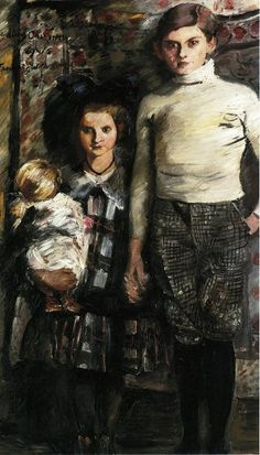 Thomas And Wilhelmine by Lovis Corinth (1858-1925) - white polo-neck with checked knickerbockers...