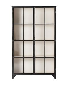 Our favorite feature of the Amalie Cabinet is its windowpane detail, allowing a stark white interior to contrast with a black iron frame. This transitional piece includes glass doors and ample shelves for maximum storage and display options. Black Shelves, Bookcase Shelves, Display Shelves, Shelving, Bookcases, Display Cabinets, Black Display Cabinet, Glass Shelves Kitchen, Kitchen Doors