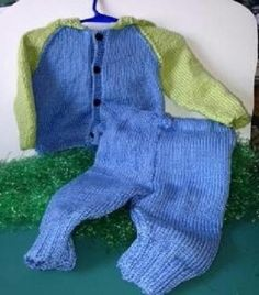 * NEW ITEM * Handmade Knitted Children Hoodie Sweater and Pants Blue Green #Handmade #Hoodie #Everyday