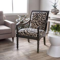 Turned Leg Zebra Arm Chair