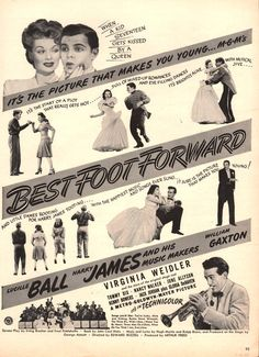 1943 Lucy Lucille Ball movie print ad Best Foot Forward