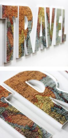 Perfect for a photo collage on the letters NYC.great alternative to a scrapbook Travel map letters .and then have a photo collage below of your travels. Craft Projects, Projects To Try, Project Ideas, Craft Ideas, Diy And Crafts, Arts And Crafts, Diy Y Manualidades, Ideias Diy, Travel Wall