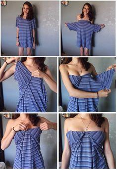turn men shirt into dress tutorial