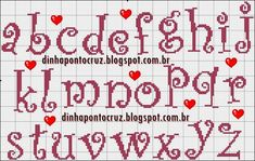 Hand Embroidery Art, Cross Stitch Embroidery, Disney Letters, Plastic Canvas Letters, Baby Cross Stitch Patterns, Cross Stitch Letters, Crochet Cross, Cross Stitching, Lettering