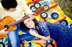 engagement couple blue vintage dress acoustic guitar picnic photo