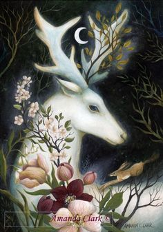 Print titled Moon Glow by Amanda Clark fairy tale illustration sparkles home decor white stag flower art Print titled Moon Glow by Amanda Clark fairy tale illustration sparkles home decor white stag flower art Astrid Bachmann nbsp hellip painting moon Illustration Blume, Hirsch Illustration, Botanical Illustration, Clark Art, Pagan Art, Deer Art, Fairytale Art, Wow Art, Whimsical Art