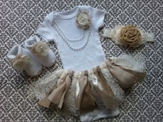 Baby Girl, Take Home Outfit, Floral Socks, Headband, Fabric TUTU Skirt, Burlap & Lace, Ivory Flowers, Pearl Necklace, Burlap Headband by LeopardLaceLove on Etsy https://www.etsy.com/listing/205446044/baby-girl-take-home-outfit-floral-socks