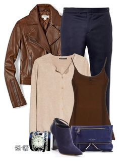 """""""Brown and Navy"""" by terry-tlc ❤ liked on Polyvore featuring FOSSIL, Wooyoungmi, MANGO, Doralice, Marc Jacobs, Jimmy Choo, Sara Designs and Blue Nile"""