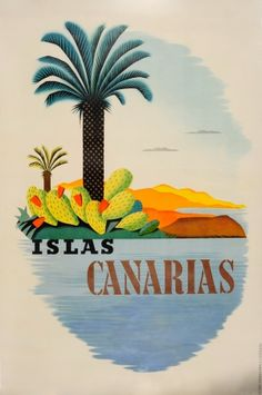Canary Islands Spain Islas Canarias 1920s - original vintage poster listed on AntikBar.co.uk