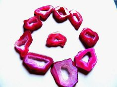 AAA Rubellite Pink Druzy Agate Both Side Polished Geode Slices with Very Sparkly Crystals--- 10 Pieces. | gemstonebeads