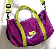 3ab328a66ae NIKE grey tag 1980s VINTAGE duffel messenger shoulder track gym travel bag  neon purple green.