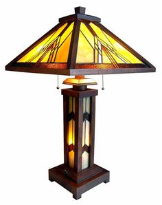 Handcrafted Mission Styled Tiffany Style Stained Glass Table Lamp W/ Lit Base in Home & Garden, Lamps, Lighting & Ceiling Fans, Lamps Stained Glass Table Lamps, Stained Glass Light, Louis Comfort Tiffany, Art Nouveau, Art Deco, Tiffany Style Table Lamps, Wooden Lamp, Leaded Glass, Vintage Lamps