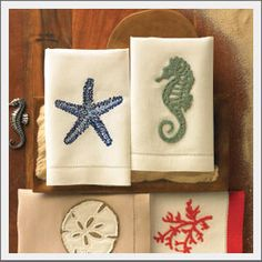 starfish seahorse guest towels from SeasideInspired.com