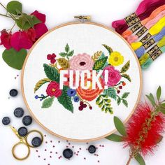 Retro Embroidery Patterns Fuck Flowers Home Cross Stitch Pattern, Quote cross stitch, Modern funny inappropriate subversive cross stitch, Flowers cross stitch - Cross Stitch Floss, Cross Stitch Fabric, Cross Stitch Charts, Cross Stitching, Cross Stitch Embroidery, Cross Stich Patterns Free, Cross Stitch Designs, Cross Stitch Flowers Pattern, Flower Patterns